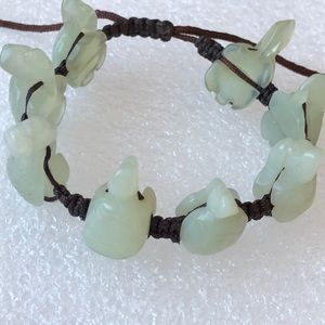 Carved Jade  Turtle adjustable BOHO bracelet